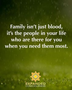Family isn't just blood it's the people in your life who are there for you when you need them the most.