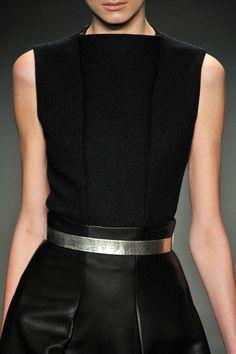 black with metal belt