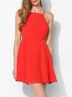 Womens Bright Red Dress - No Shoulders / Spaghetti Straps / Short Length