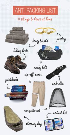Avoid carrying unnecessary stuff with you on your travels with our anti-packing list. Save money, backaches, and muscle mass!