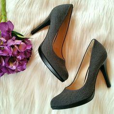 "NWOT Jessica Simpson Grey Pumps Jessica. Simpson Grey herringbone print fabric pumps. Brand new. Never worn.  4"" heel.  Size 6 Jessica Simpson Shoes"
