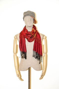 Unisex Summer Scarf Shawl Mens Scarves Kerchief Wrap S Silk Cotton Tassel Red  #Scarf