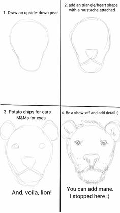 Exciting Learn To Draw Animals Ideas. Exquisite Learn To Draw Animals Ideas. Lion Drawing, Drawing For Kids, Drawing Sketches, Drawing Lessons, Drawing Techniques, Art Lessons, How To Draw Anything, Lion And The Mouse, Art Worksheets