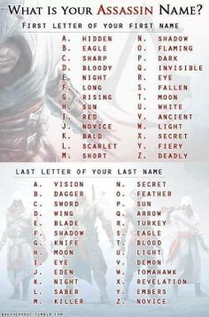What is your assassin name? Mine is (lamely) Eagle Eagle! <<< its the assassin version of Moon Moon! Oh and mine is hidden moon. Funny Names, Cool Names, Badass Names, Writing Prompts, Writing Tips, Funny Name Generator, Assassin Names, Fantasy Names, Name Games