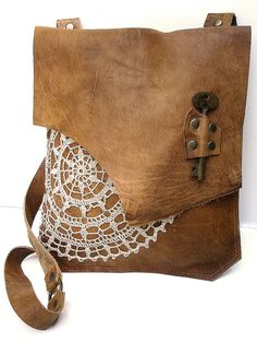 Boho Leather Messenger with Vintage Crochet Doily & Antique Key by UrbanHeirlooms, via Flickr