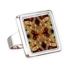 Golden Diamond Rope Lights Square Ring on CafePress.com