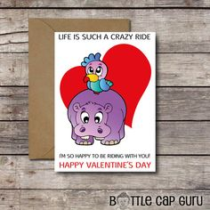 """Life is such a crazy ride, I'm so happy to be riding with you! Happy Valentine's Day!""  * Card for Him or Her * Card for Best Friend * Printable, Instant Download"
