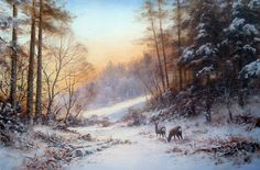 """Winters Evening. Acrylic 21"""" x 14"""" Feel Free to contact me on my website…"""