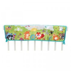 A soft cloth soother that drapes and attaches to the crib rail.