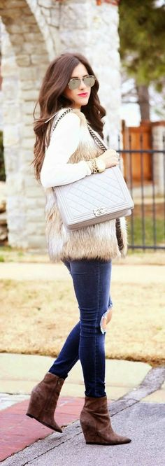 Faux Fur With Statement Necklace