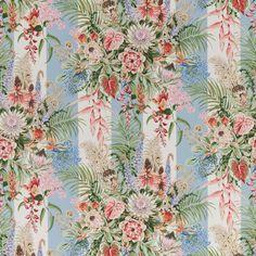 Cowtan & Tout's Sanibel 10696-01 multi, blue stripe #cowtanandtout #floral #textile #fabric  #interiors #design @cowtanandtout