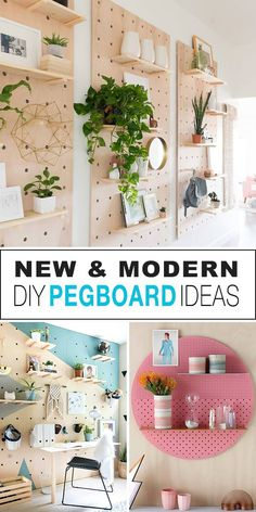 New & Modern DIY Pegboard Ideas! - Check out all these new types of pegboards you can DIY. The trend is towards oversized holes and minimal design. Storage and organizing that looks awesome! New & Modern DIY Peg Pegboard Craft Room, Pegboard Storage, Kitchen Pegboard, Craft Rooms, Tool Storage, Paper Storage, Diy Kitchen, Diy Décoration, Easy Diy