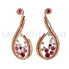 Luxury Designed Drop-Shaped Rose Pink and Gold Tone Shining Crystal Earrings