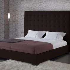 Platform Bed with Espresso Faux Leather Tall Headboard | #wow #cozy #simple #gorgeous #chic #lovethis #modern #sophisticated #bedroom #beds #dreamhome #unique #homedecor #furniture #interiordesign #classy | homemadecomfy