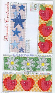 Gallery_ru / Фото #65 BORDURY: KIM-3 {cross stitch borders - apples, stars  daisys}