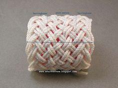 Turks head knot bracelets and contemporary fiber bracelets: hybrid weave turks head knot bracelet white nylon 2758