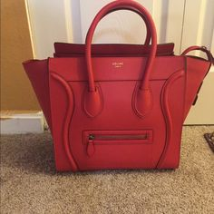 Celine Mini luggage This Celine Mini luggage comes in pebbled leather and gold hardware..comes with dustbag and care booklet.hardly used.in very good condition .no scratches.i can be reached on 2404911180 Celine Bags Totes