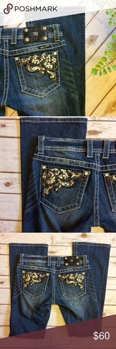 """Miss Me Embellished Pocket Bootcut Jeans Miss Me Bootcut Jeans with Sequin, embellished pockets. All gems and sequins are intact! No signs of wear and tear anywhere.                                 🎀Condition: Excellent Used Condition 🎀Wash: Medium Dark Wash 🎀Fit: Boot 🎀Waist: 29"""" 🎀Inseam: 31"""" 🎀Front Rise: 7"""" 🎀Back Rise: 11"""" Miss Me Jeans Boot Cut"""