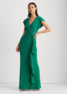 Evening Gowns With Sleeves, Surplice Dress, Short Styles, Gowns Online, Review Dresses, Flutter Sleeve, Dress Outfits, Wrap Dress, Formal Dresses