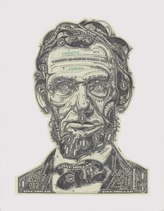 """Lincoln. Prototype portrait for """"Dead Presidents"""" project  (see proposals) . Poster reproduction available  (see Shop)."""