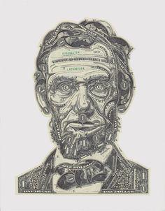 Les Oeuvres de Mark Wagner valent une bonne poignée de dollars, au sens littéral du terme. Cet artiste américain réalise en effet des portraits en n'utilisant que des billets de banque pour seul matériau.