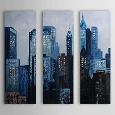 Hand Painted Oil Painting Landscape Blue City with Stretched Frame Set of 3 1310-FL1142 - USD $ 149.99