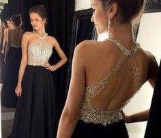 Prom Dress, Sexy Prom Dress, A-Line Prom Dress, Chiffon Prom Dress, Black Dress with Beadings, Halter Prom Dress, Open Back Prom Dress