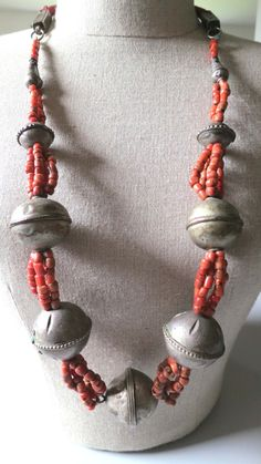 Vintage original strung Morocco Berber real antique coral bead and large silver ball beads necklace. Beautiful real antique coral beads, 4 strands