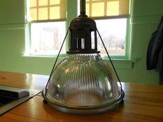 Vintage Industrial Light Holophane 684 old ceiling Barn Shade Glass Pendant
