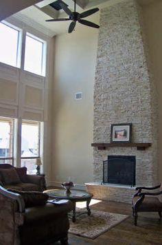 Tall fireplace Tall Fireplace, Fireplace Ideas, Fireplaces, A Shelf, Shelves, Sweet Home, House Ideas, New Homes, Living Room