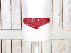 BOGO Sale 80s vintage red faux ostrich by GreenCanyonTradingCo