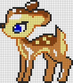 Cute_Bambi_Deer by Nicky on Kandi Patterns Kandi Patterns, Hama Beads Patterns, Beading Patterns, Embroidery Patterns, Diy Embroidery, Crochet Patterns, Beaded Cross Stitch, Cross Stitch Embroidery, Cross Stitch Patterns