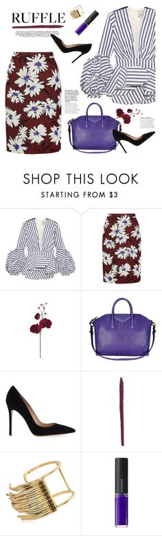 """add some flair: ruffled tops"" by jesuisunlapin ❤ liked on Polyvore featuring Johanna Ortiz, Nina Ricci, Barneys New York, Gianvito Rossi, Iosselliani and L'Oréal Paris"