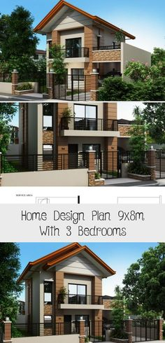 Home Design Plan With 3 Bedrooms - Modern Architecture Pool House Plans, Courtyard House Plans, Garage House Plans, Modern House Plans, House Plans Australia, 2 Storey House Design, Flat Roof, Modern Bedroom, Modern Rustic