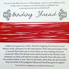 Have guests wear a binding thread - Celebrate Mom-to-Be with a Blessingway Instead of a Baby Shower - Photos