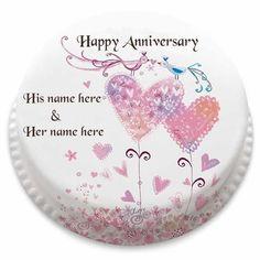 happy anniversary cake with couple name editor photo
