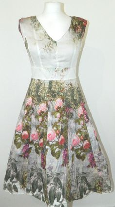 LAURA ASHLEY VINTAGE FLORAL DRESS 40s 50s STYLE PARTY PROM WEDDING ASCOT