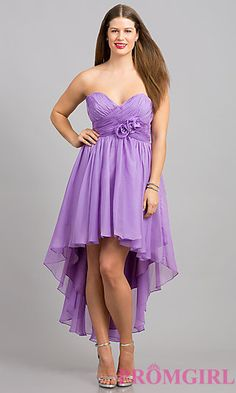 High Low Strapless Sweetheart Plus Dress at PromGirl.com