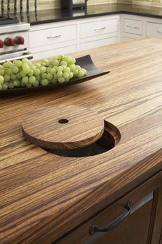 Look! Trash Chutes in the Countertop Kitchen Inspiration