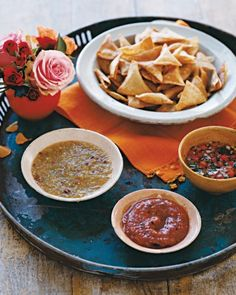 Salsa Trio and Homemade Tortilla Chips - Start the fiesta with not one, but three salsas -- cruda, verde, and roasted tomato -- that highlight jalapeno, serrano, and arbol chiles. All of these delicious dips can be made several days in advance.