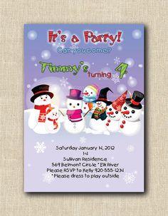 Snowman Party Invitation  12 by StudioGStationery on Etsy, $24.00