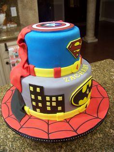 super hereo cake | Superhero cake - Spiderman, Batman, Superman & Captain America
