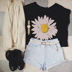shorts, cardigan, shoes, flower shirt