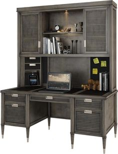 Modern Nostalgia Credenza Desk with Hutch by Turnkey Products