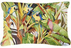 Three Blue Parrots Indoor/Outdoor Throw Pillow