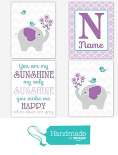 Baby Girl Nursery Wall Art Elephant You Are My Sunshine Purple Lavender Teal Aqua Personalized Name Art Baby Nursery Decor Girl Room Print SET OF 4 UNFRAMED PRINTS from Dezignerheart Designs http://www.amazon.com/dp/B015UUBKSK/ref=hnd_sw_r_pi_dp_dZa7wb03F7W6F #handmadeatamazon