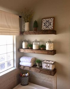 47 Comfy Farmhouse Bathroom Decor Ideas With Rustic Style is part of Small bathroom decor Farmhouse bathroom accessories can be ideal for adding decoration in addition to practicality Decorating yo - Living Room Candles, Bathroom Shelf Decor, Bathroom Storage, Bathroom Organization, Bathroom Cabinets, Toilet Storage, Bathroom Furniture, Bathroom Interior, Bathroom Vanities
