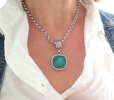 Silver Chain Necklace, Leather Necklace, Boho Necklace, Pendant Necklace, Argent Antique, Antique Silver, Turquoise Pendant, Turquoise Necklace, Gifts For Women