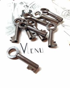 Two (2) Vintage Smaller Keys - Very Usable Size With Nice Aged Patina - Perfect for Altered Art Rustic Assemblage Jewellery Steampunk