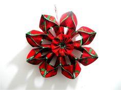 Moños flores navideñas en cintas - Christmas flowers in ribbons bows